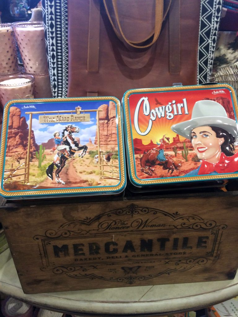 Metal lunchboxes at the Pioneer Woman Mercantile
