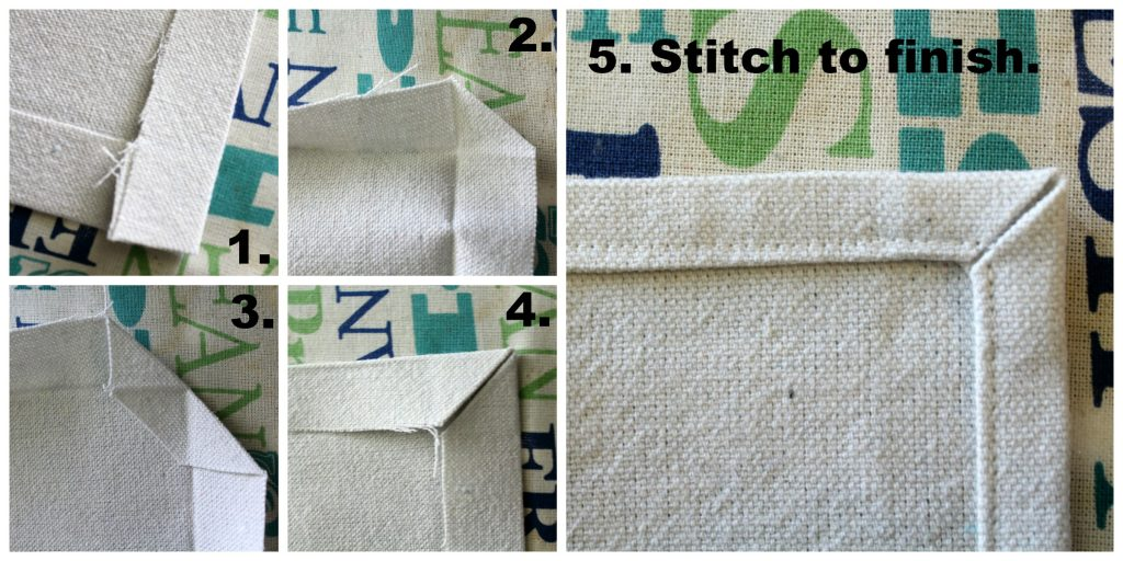 how to miter fabric corners