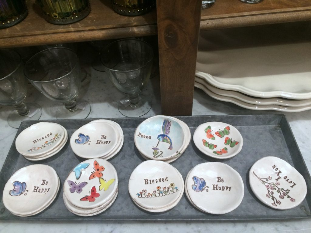 Clay dishes at the Pioneer Woman Mercantile