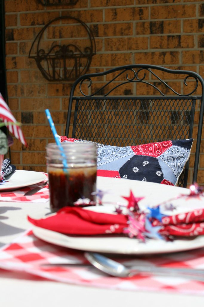 Red, white and blue summer tablescape