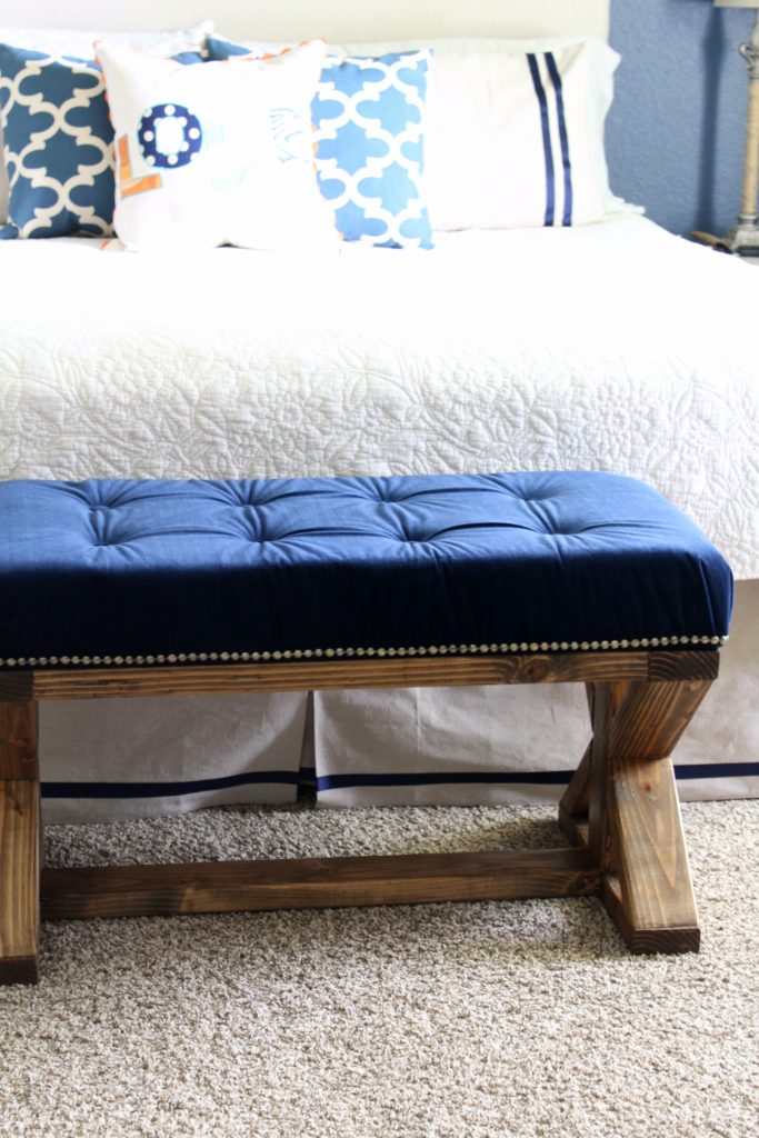 DIY tufted upholstery farmhouse style bench