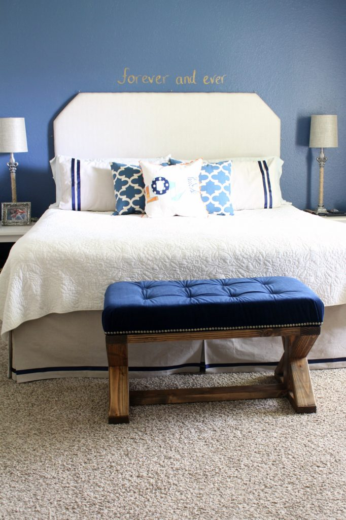 DIY Upholstered Farmhouse Style Bench