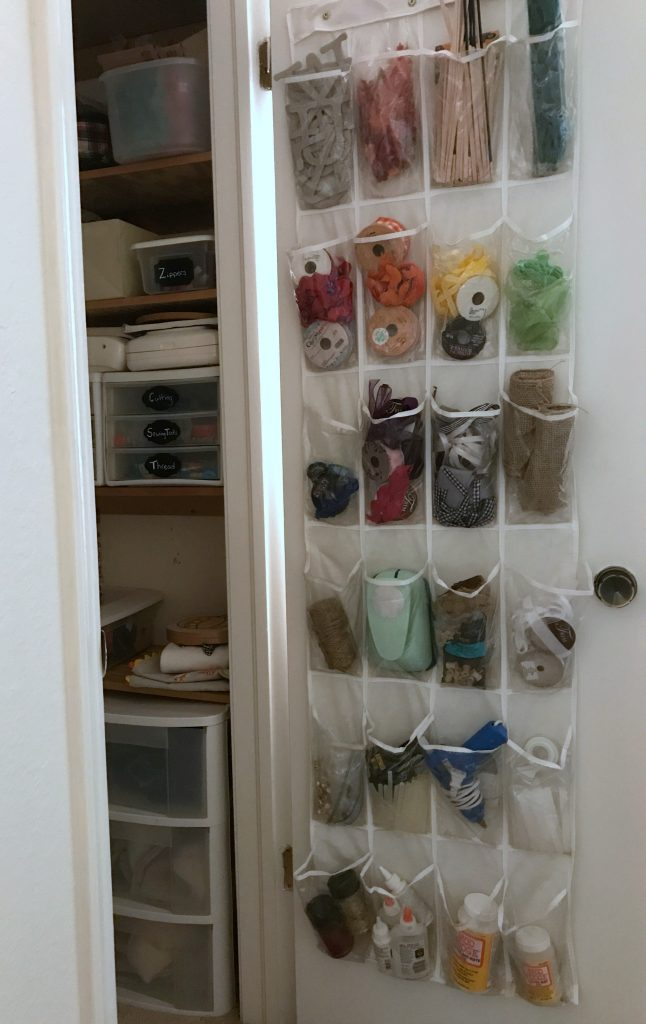 Craft storage and organization using a shoe organizer