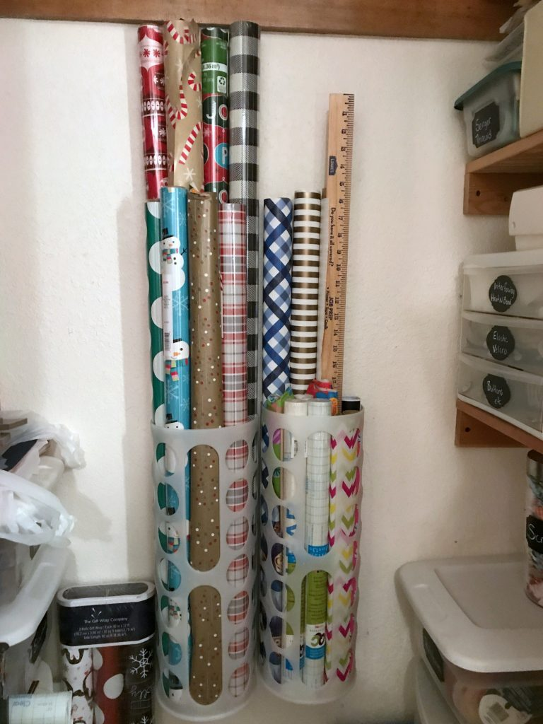 Wrapping paper storage using Ikea bag dispensers