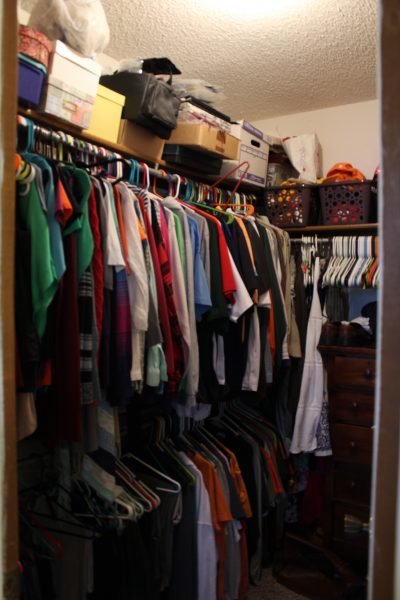 Cramped master closet before update