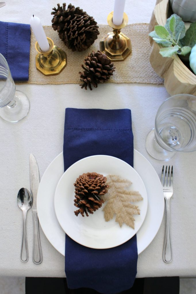 Blue and natural fall table setting
