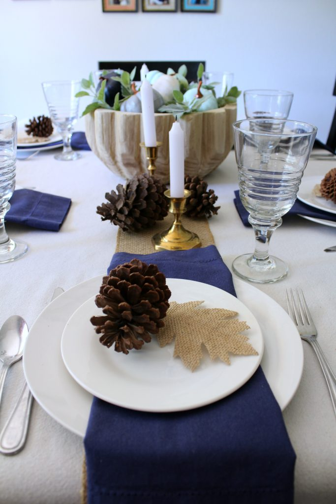 shades of blue fall table setting