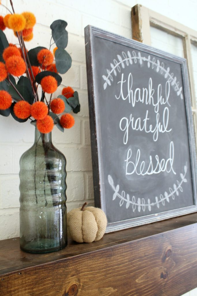 Fall mantel chalkboard