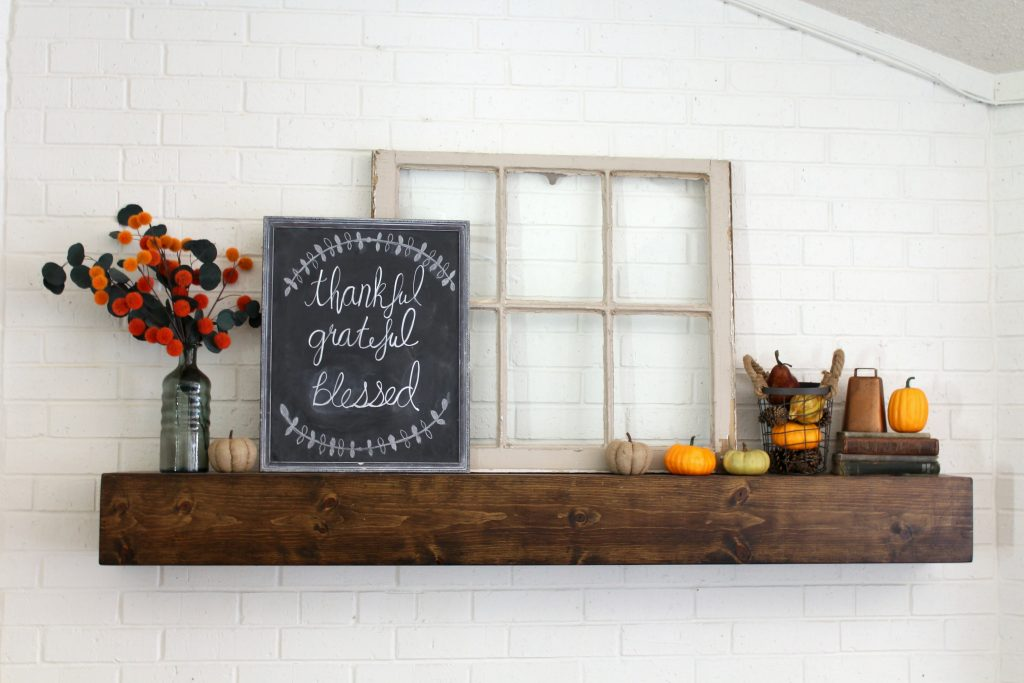 Cozy minimal modern farmhouse fall mantel