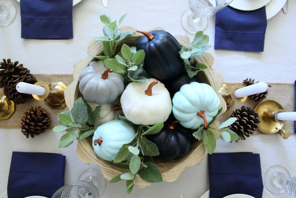 Shades of blue pumpkin centerpiece