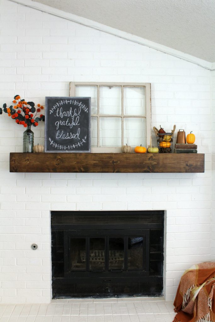 Fall mantel thankful grateful blessed