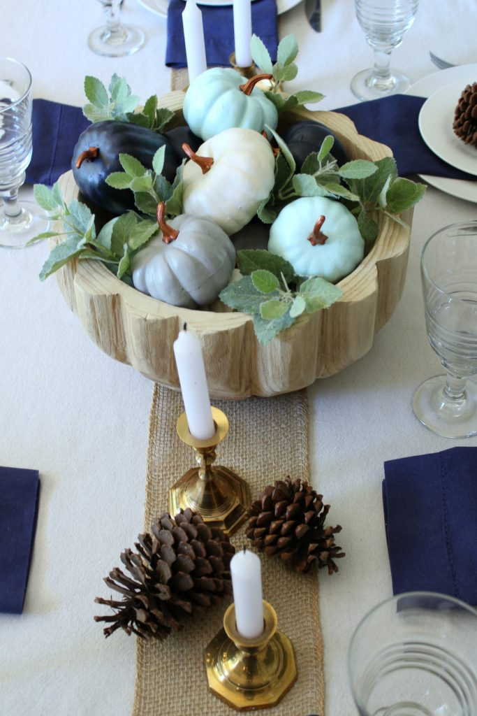 Fall table in shades of blue