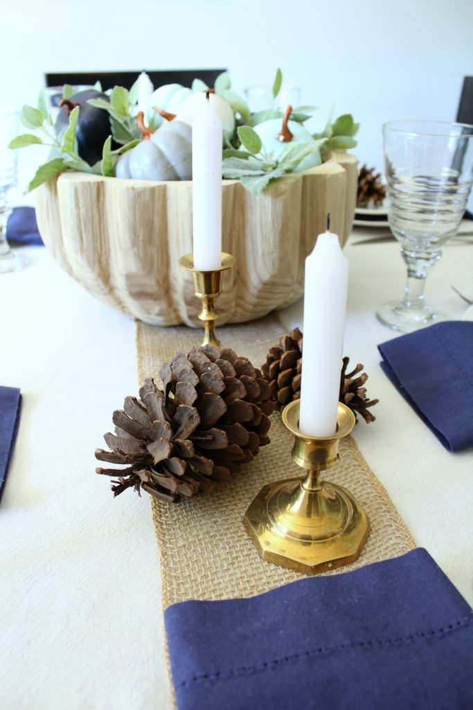 Fall table setting in shades of blue