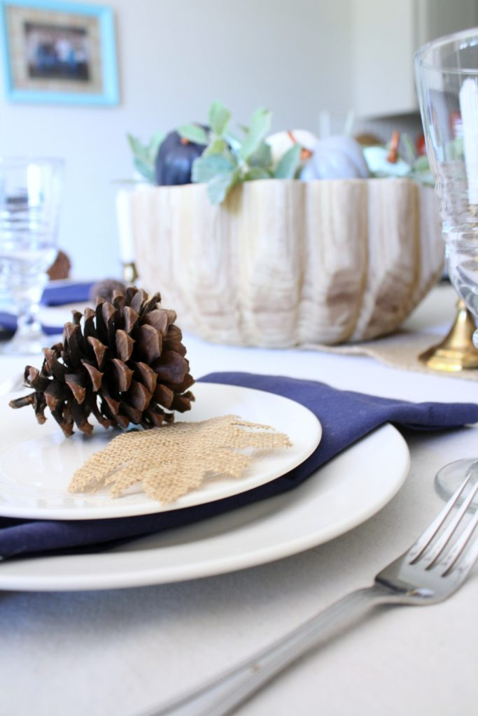 Blue fall table setting