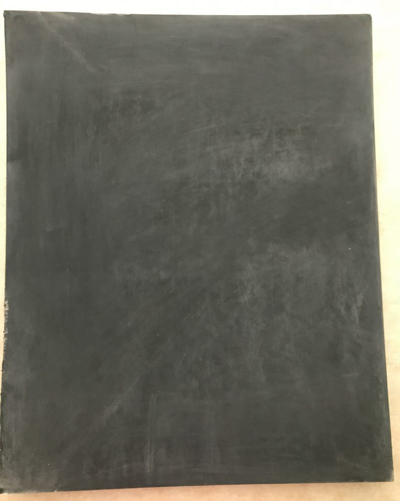 foam board chalkboard after priming