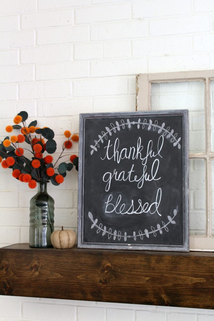 Thankful grateful blessed chalkboard art