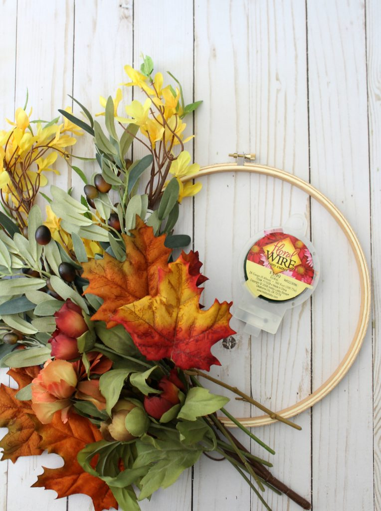 Supplies for DIY fall hoop wreath