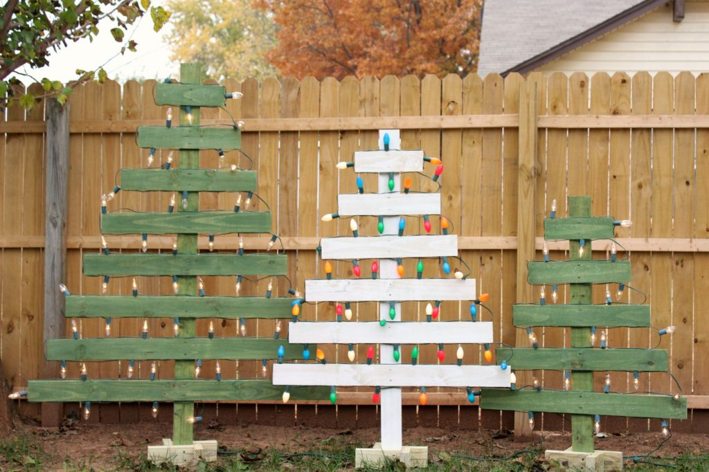DIY Lighted Wooden Christmas Trees