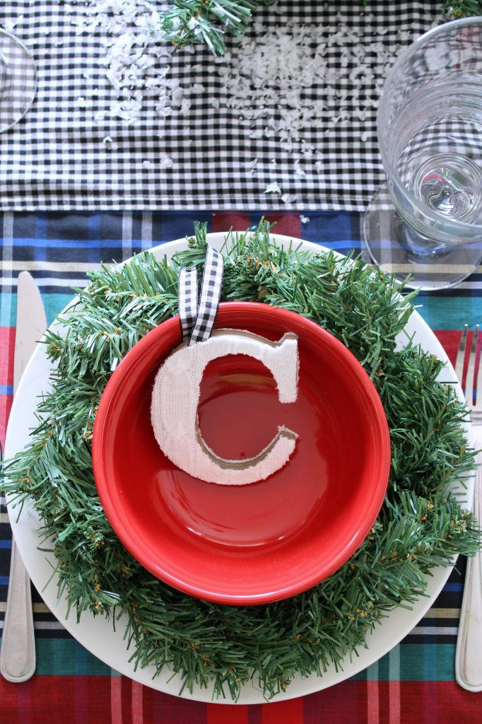 Christmas table setting with personalized ornament