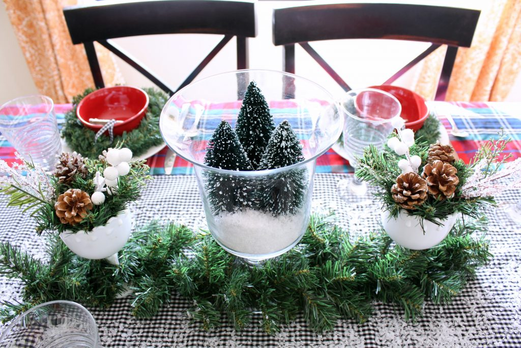 Mad for plaid Christmas tablescape centerpiece