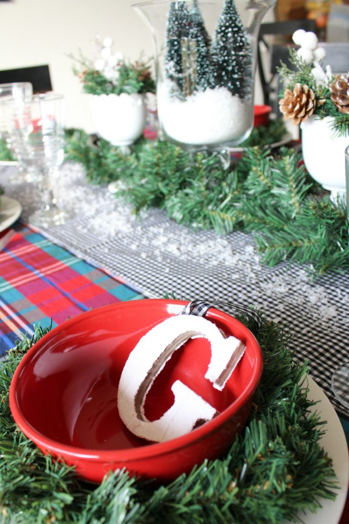 Mad for plaid Christmas tablescape with personalized ornaments