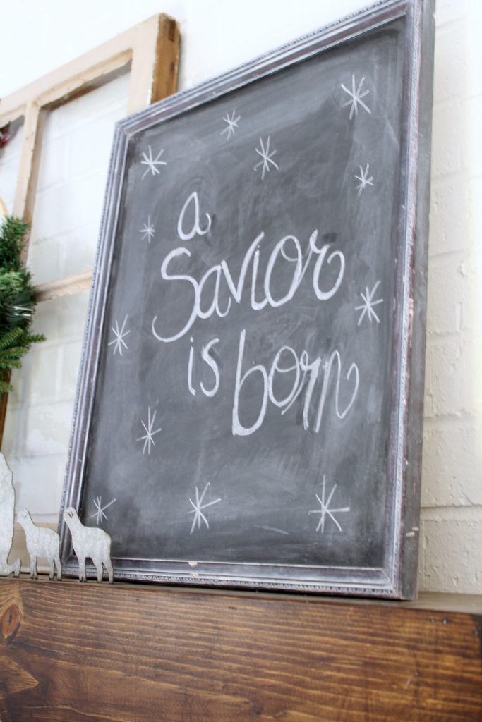 A Savior is born chalkboard art