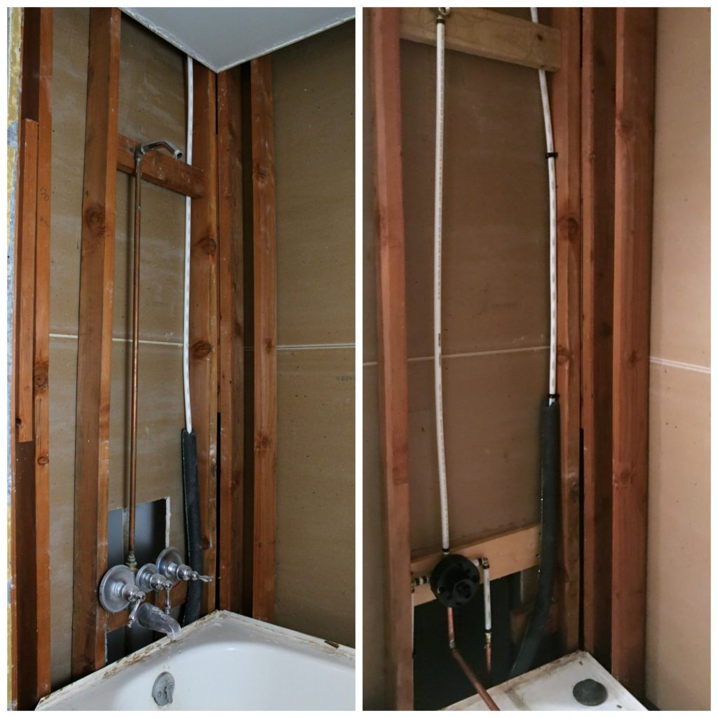 Shower fixture plumbing updated