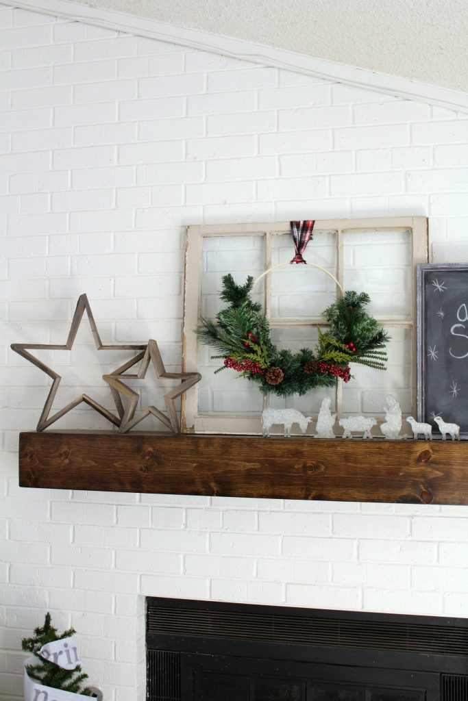 Cozy Farmhouse Christmas Mantel