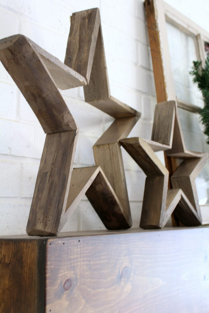 Wooden Stars on Christmas mantel