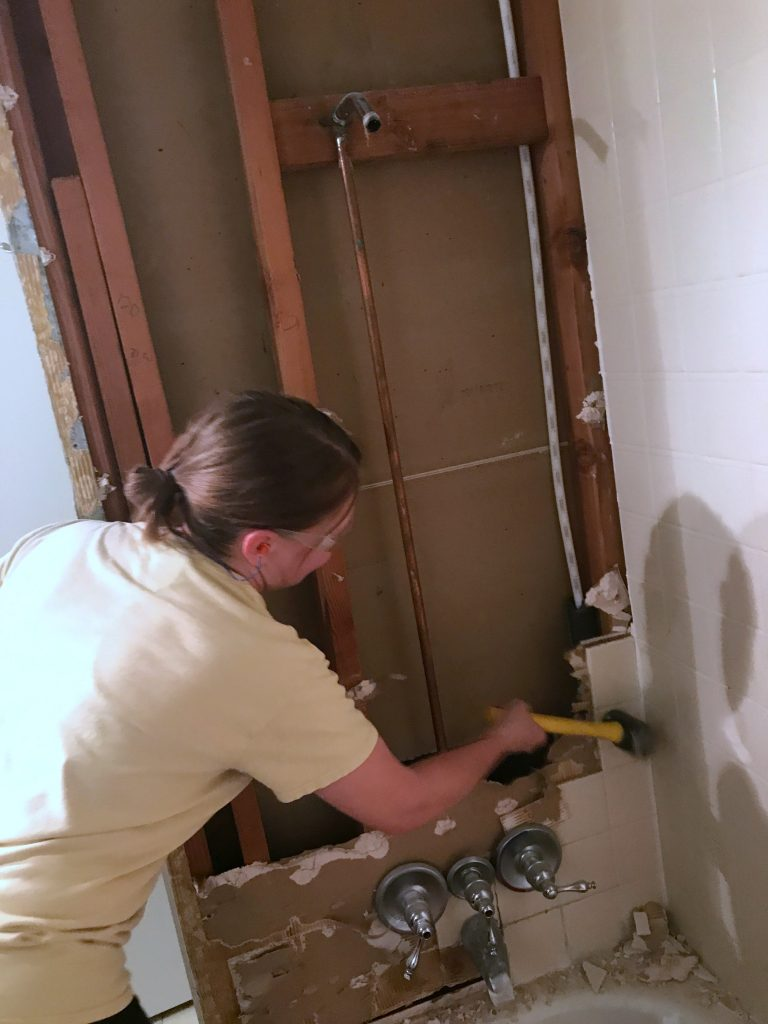 shower tile demolition