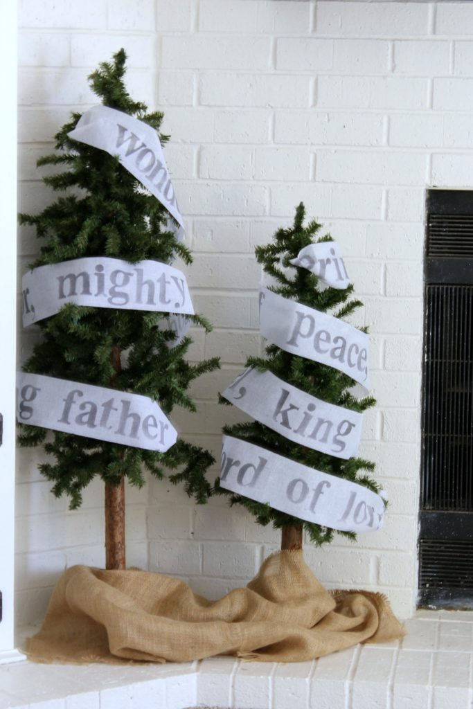 Rustic trees with names of Jesus garland