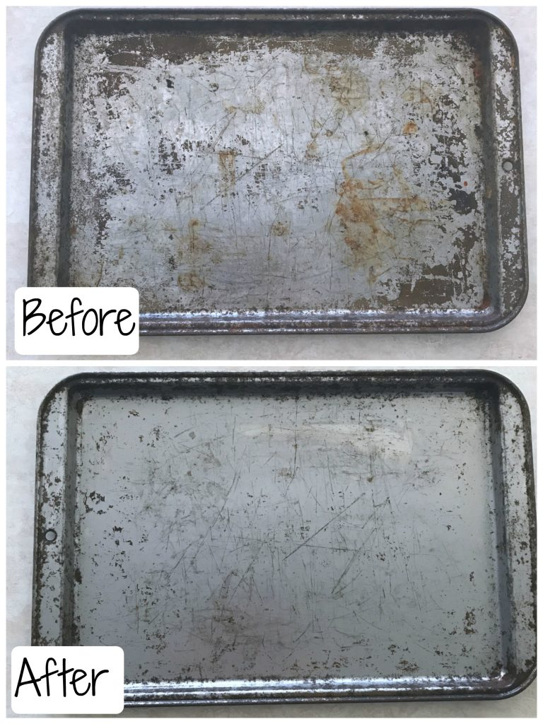 before and after cleaning an old baking sheet