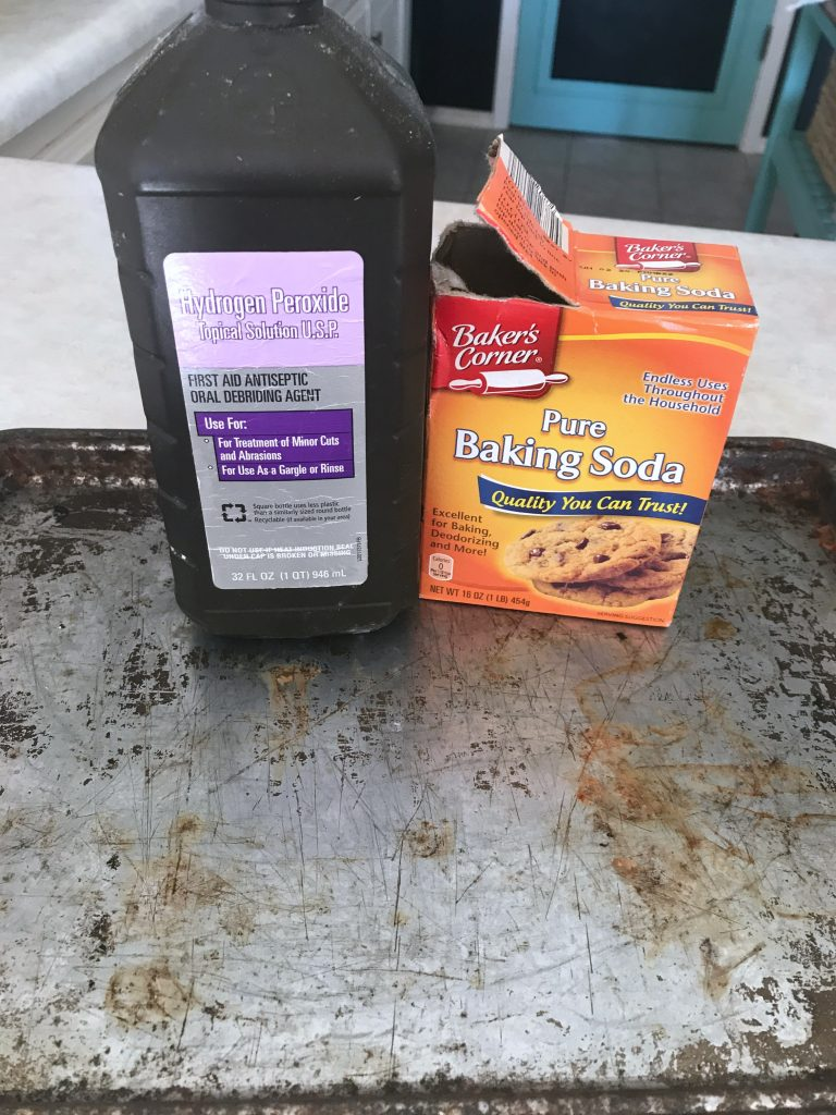 supplies for cleaning old baking sheets