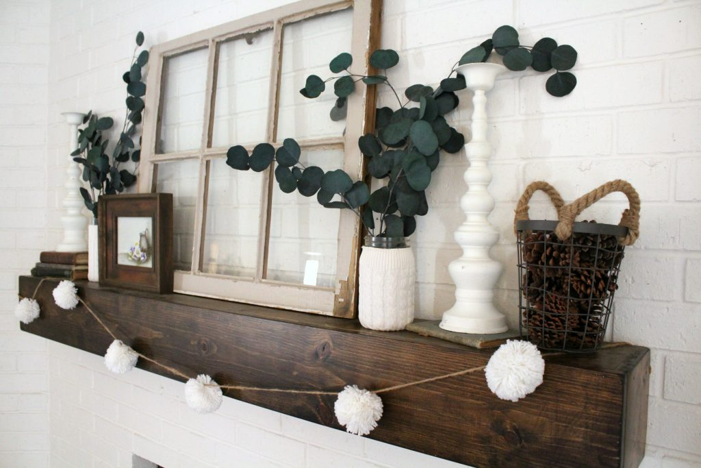 Neutral White Winter Mantel