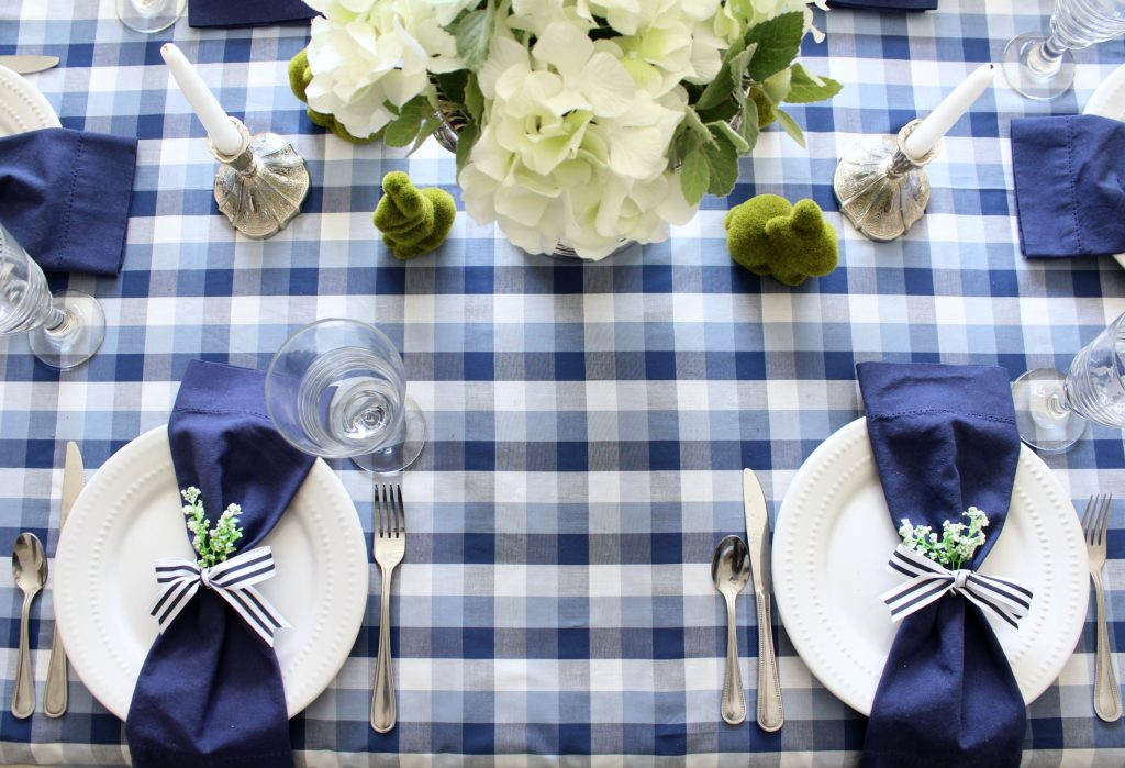 Blue and white spring tablescape