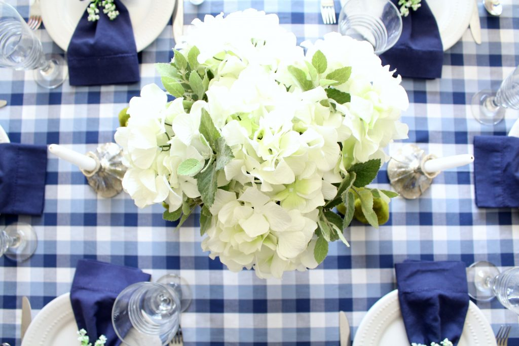 Sometimes faux flowers do the trick, just like these faux hydrangeas.
