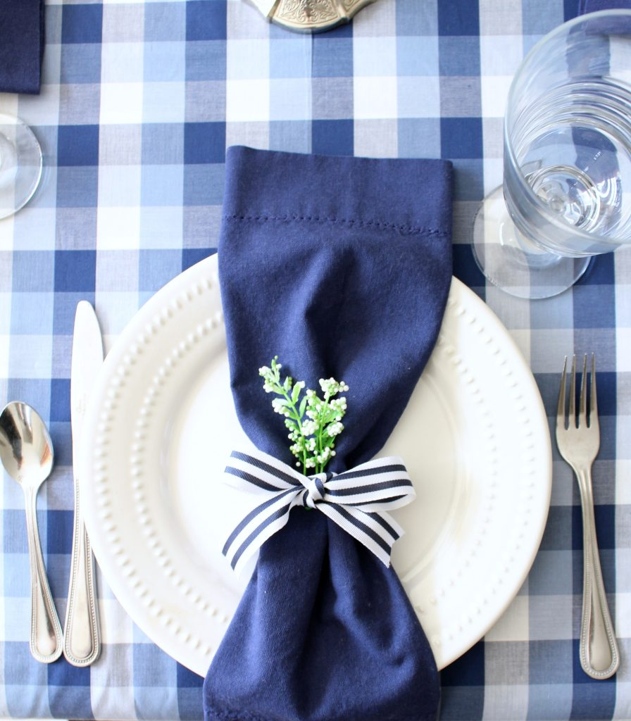 Navy and white striped ribbon makes a great napkin ring.