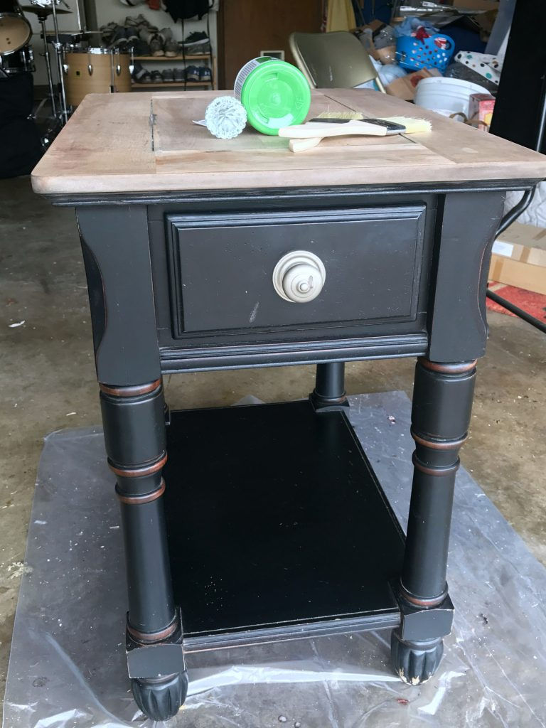 Side table makeover before
