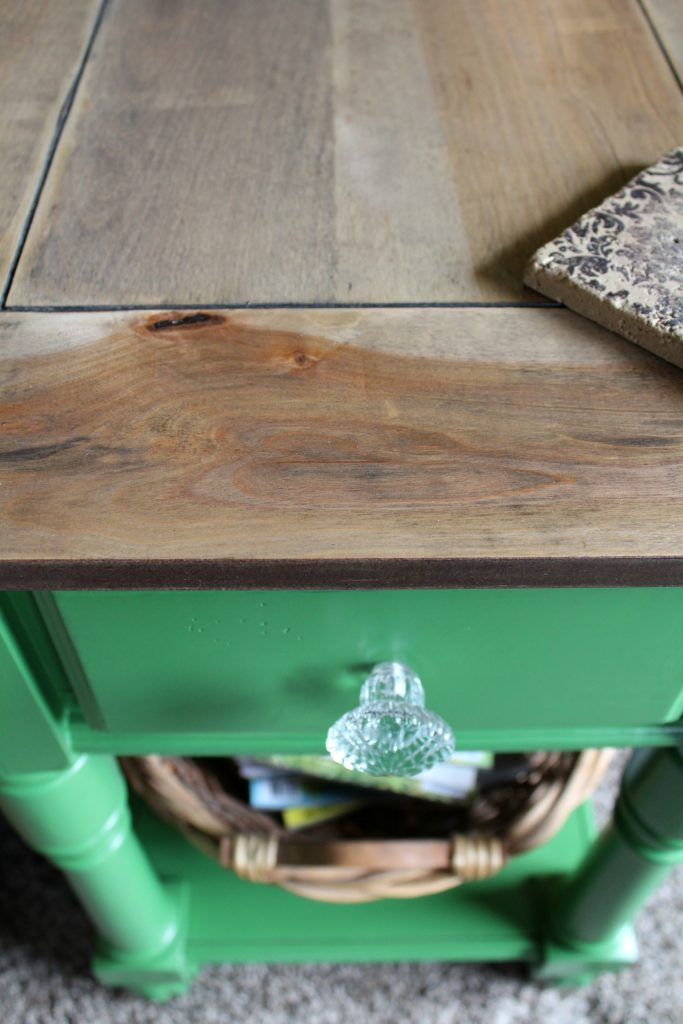 Side table makeover. Stained top and painted bottom.