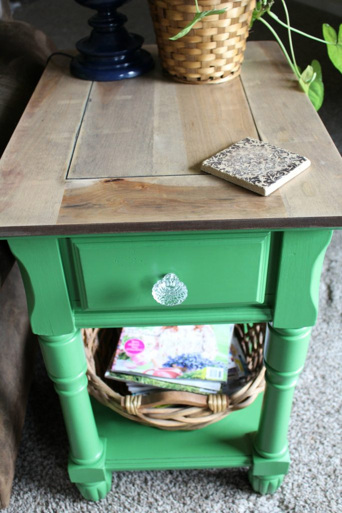 Side table makeover after stained top painted bottom