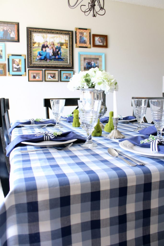Spring tablescape in blue and white