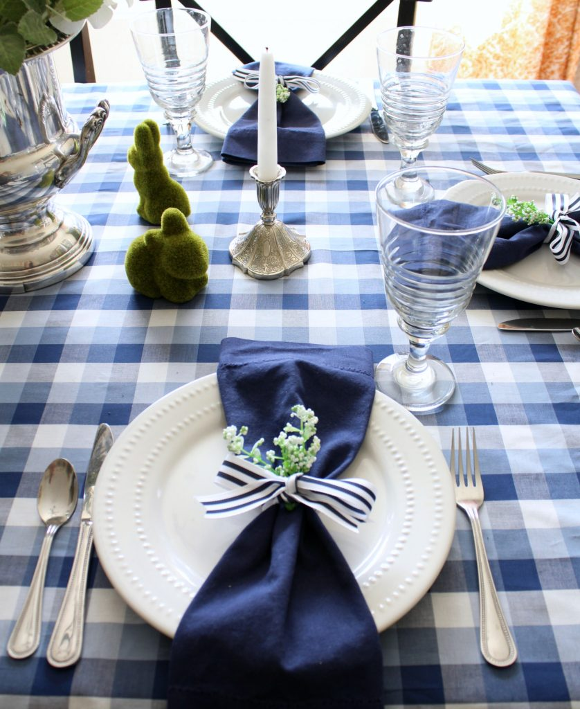 Add a little greenery in your napkins rings for a little extra spring.