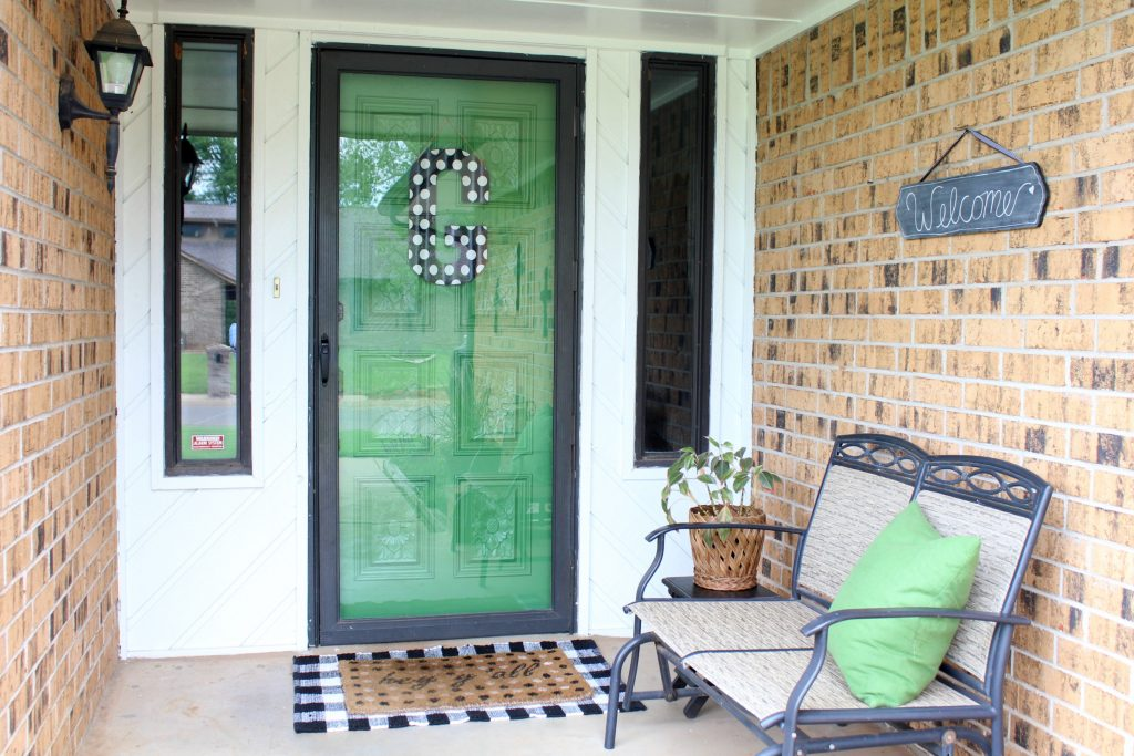Black, white and green front porch makeover