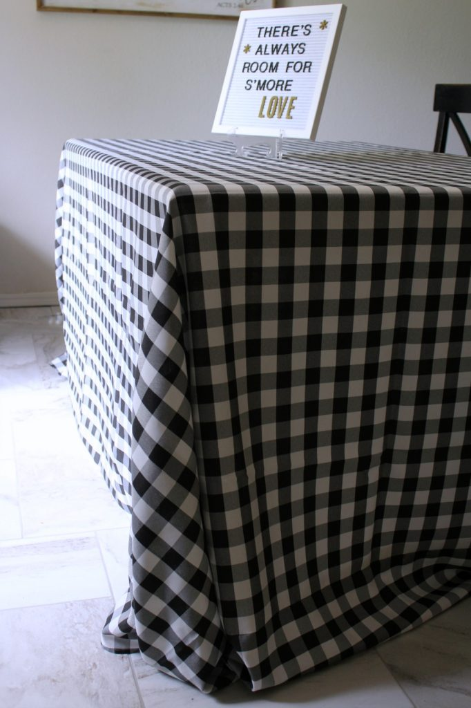 floor length black and white gingham tablecloths