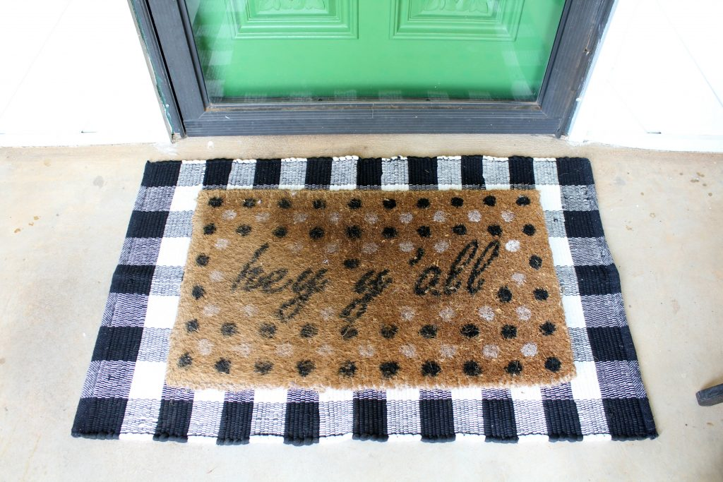 Layered front door mats - black and white gingham