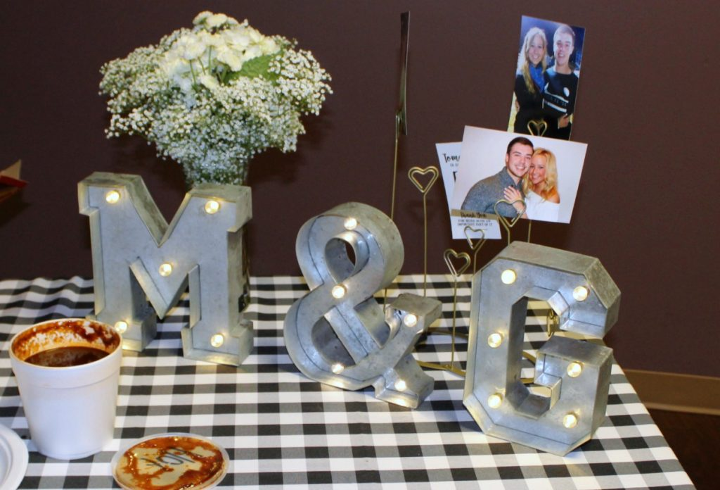 marquee letters rehearsal dinner decor