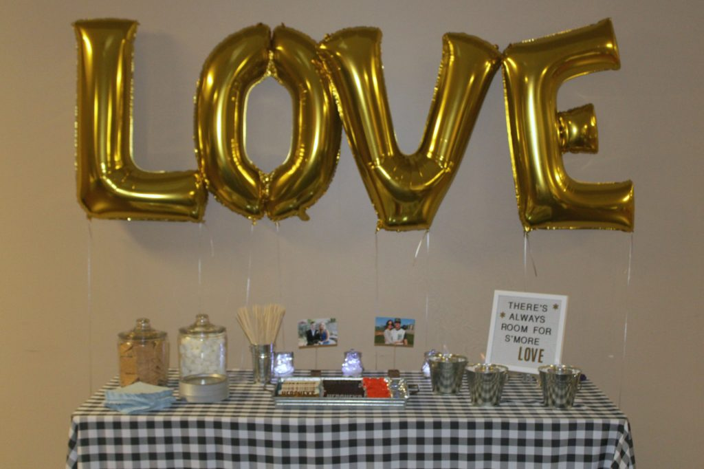 LOVE balloons rehearsal dinner decor