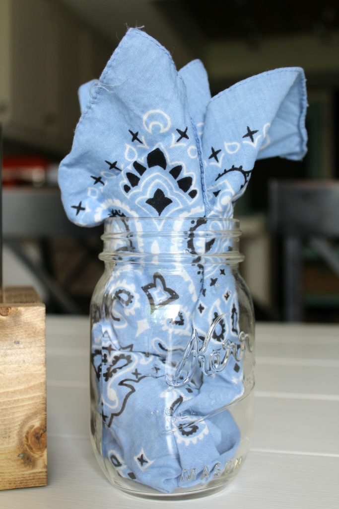 mason jar glass and bandana napkin