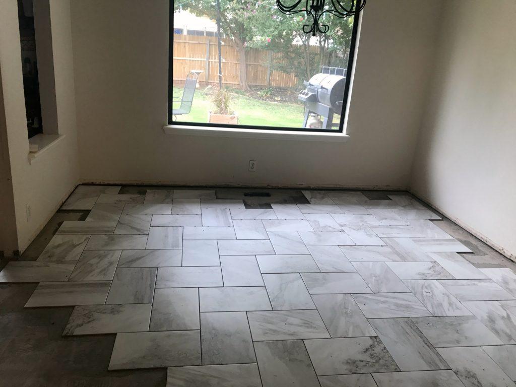 Floor tile in progress