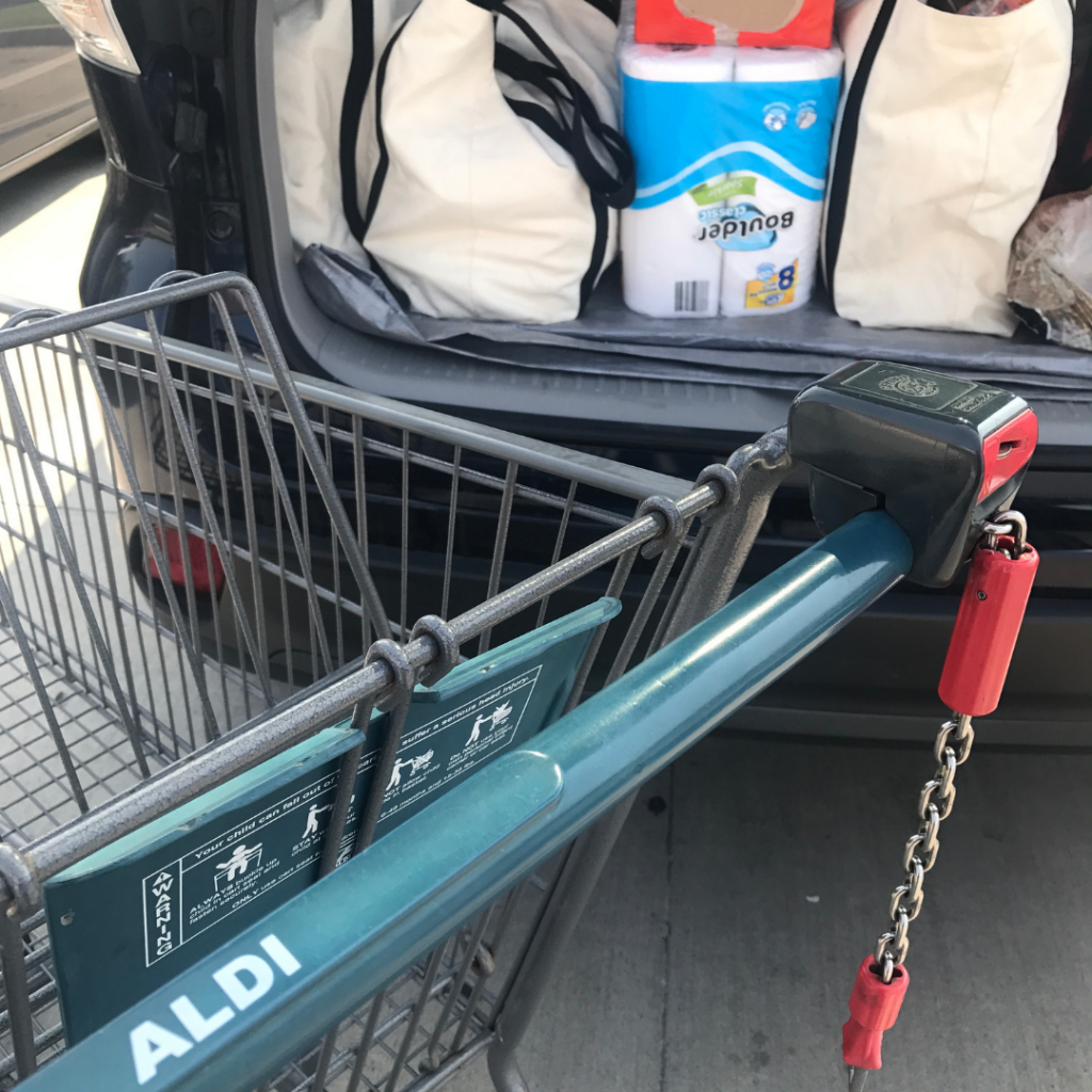 Grocery shopping at Aldi or stores like this will save you a lot of money